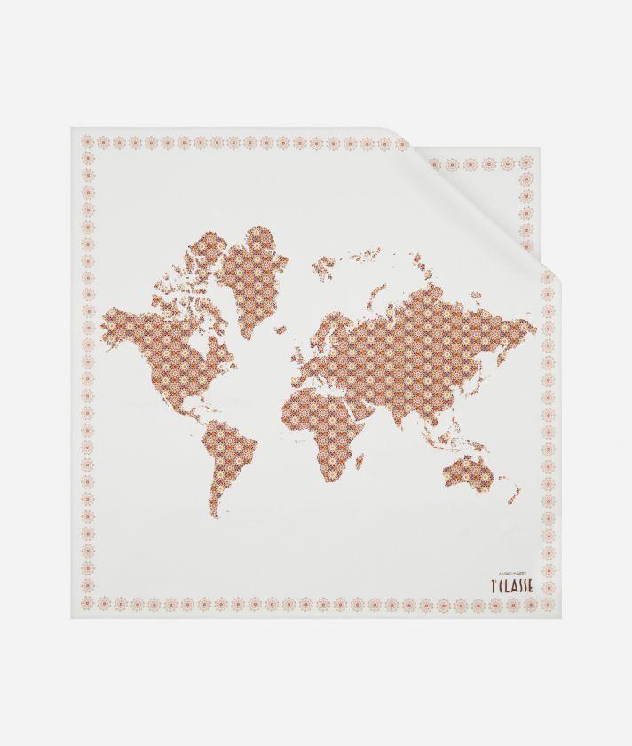 Mosaic print foulard 70 x 70 Brown