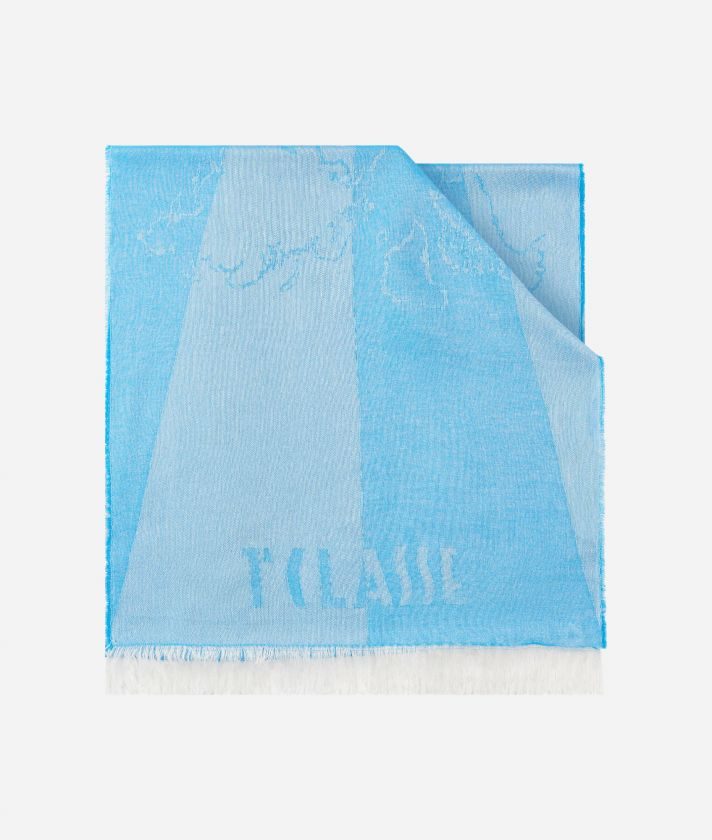 Geo Pieno print foulard 20 x 230 Light Blue