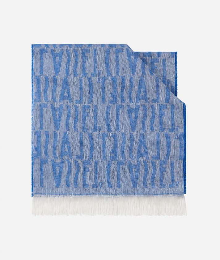 Logo all over print foulard 30 x 180 Blue