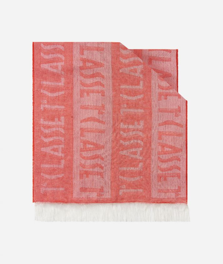 Logo all over stripes print foulard 30 x 180 Red