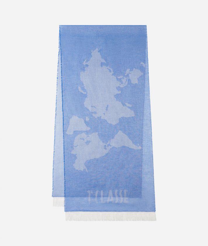 Geo Pieno print scarf 40 x 180 Blue