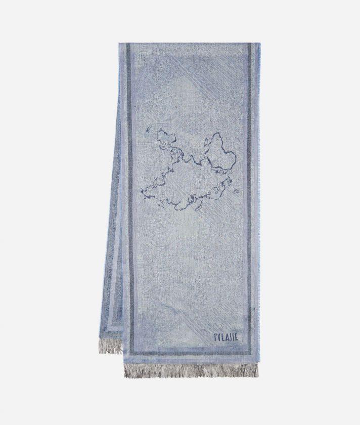 Micro fantasy print scarf 40 x 190 Blue