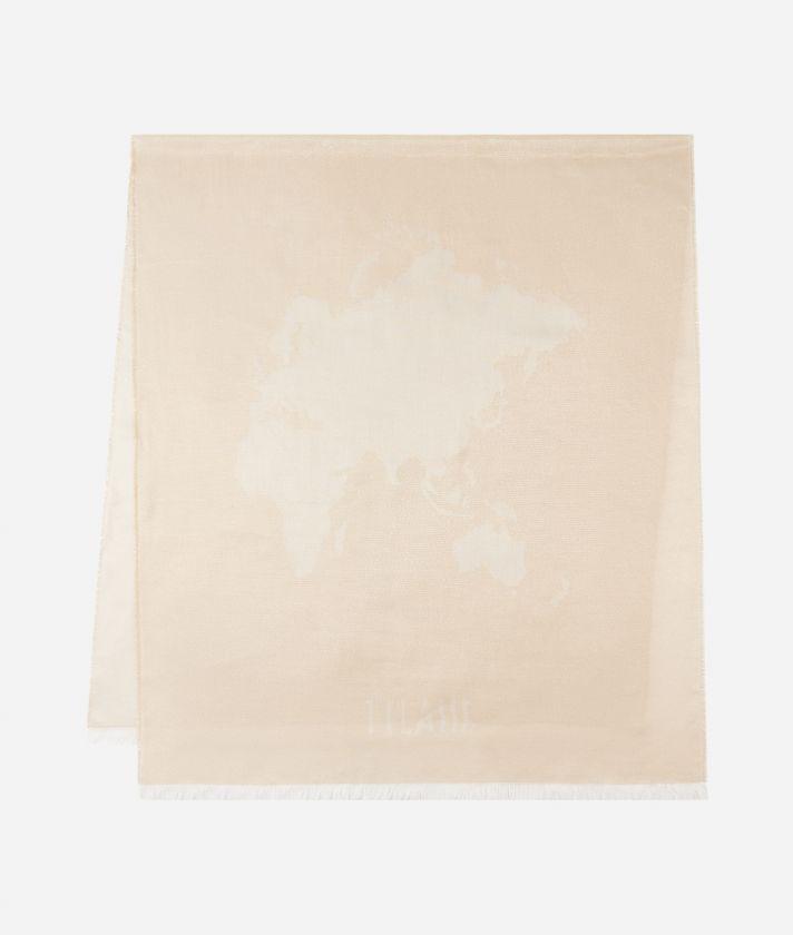Geo Filetto Lurex print scarf 80 x 180 Beige