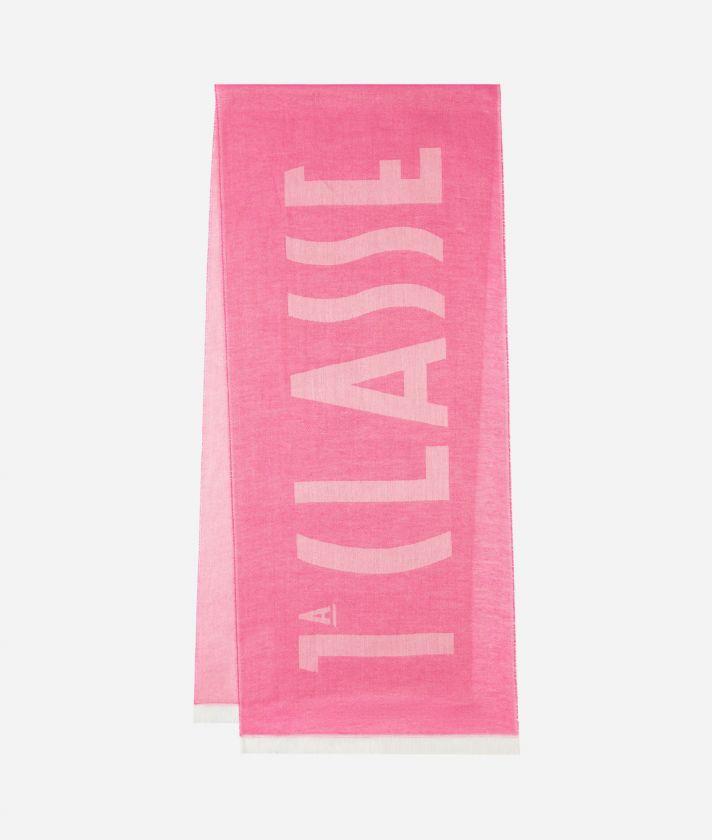 Logo 1A Classe print scarf 40 x 180 Pink