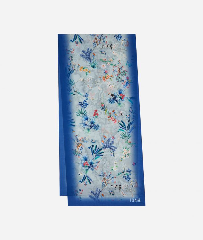 Geo Oasis print scarf 45 x 180 Blue