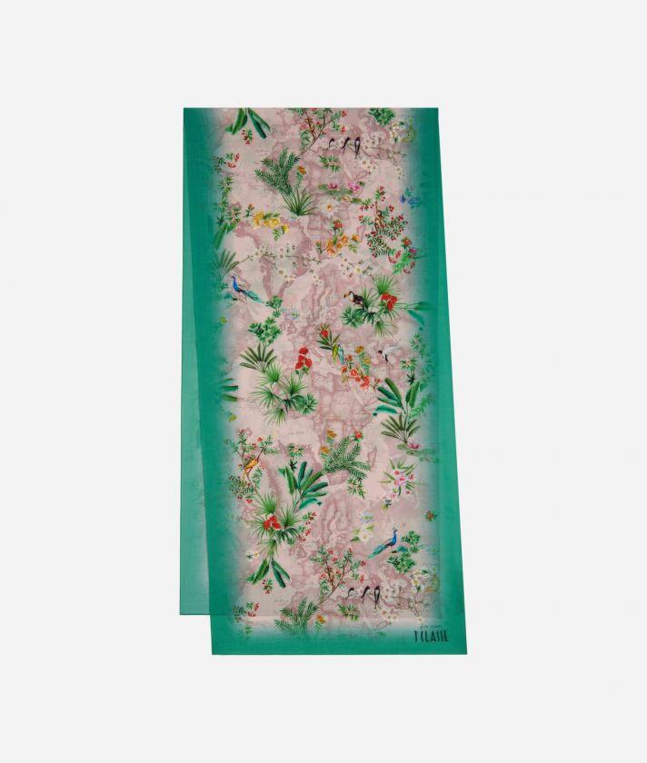 Geo Oasis print scarf 45 x 180 Pink