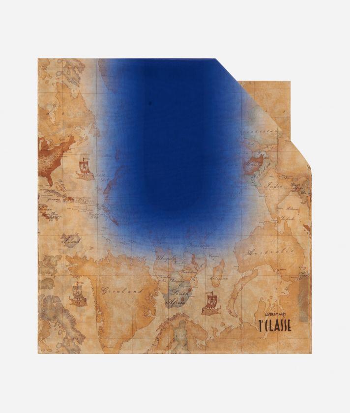 Geo Sfumato print scarf 45 x 180 Bluette