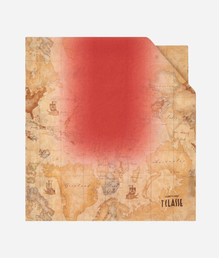 Geo Sfumato print scarf 45 x 180 Red