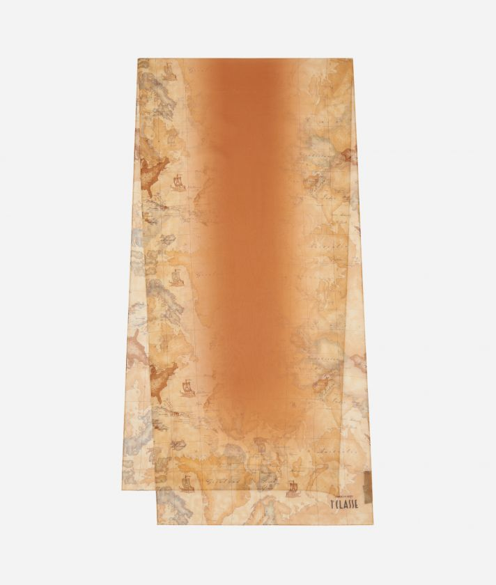 Geo Sfumato print scarf 45 x 180 Orange