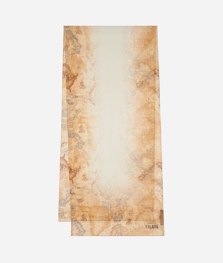 Geo Sfumato print scarf 45 x 180 White