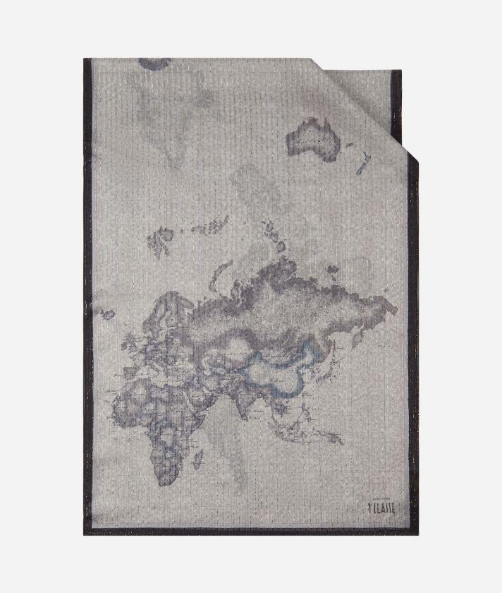 Geo Riga Lurex print stole 65 x 190 Grey