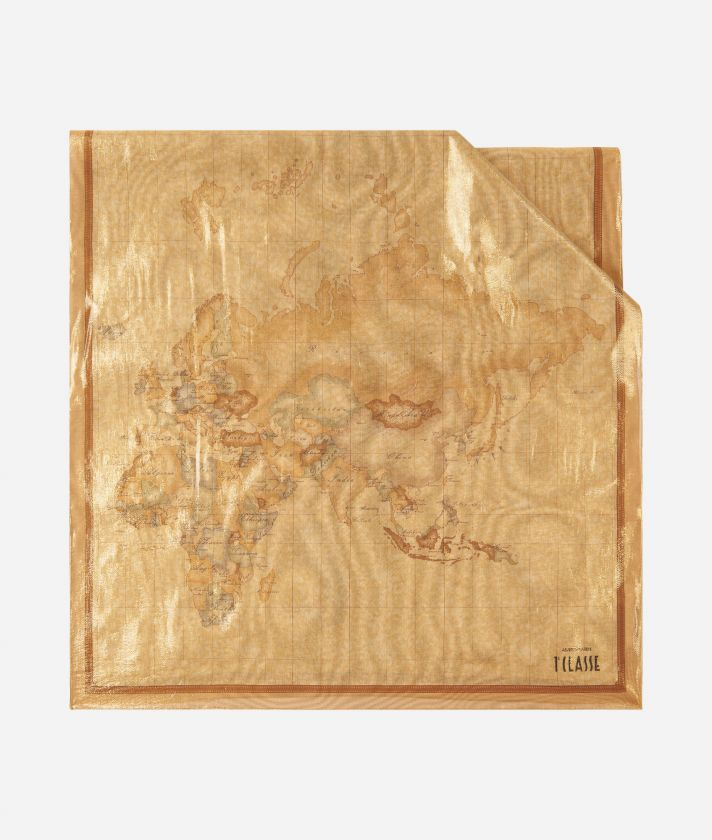 Geo Laminato print stole 65 x 190 Bronze