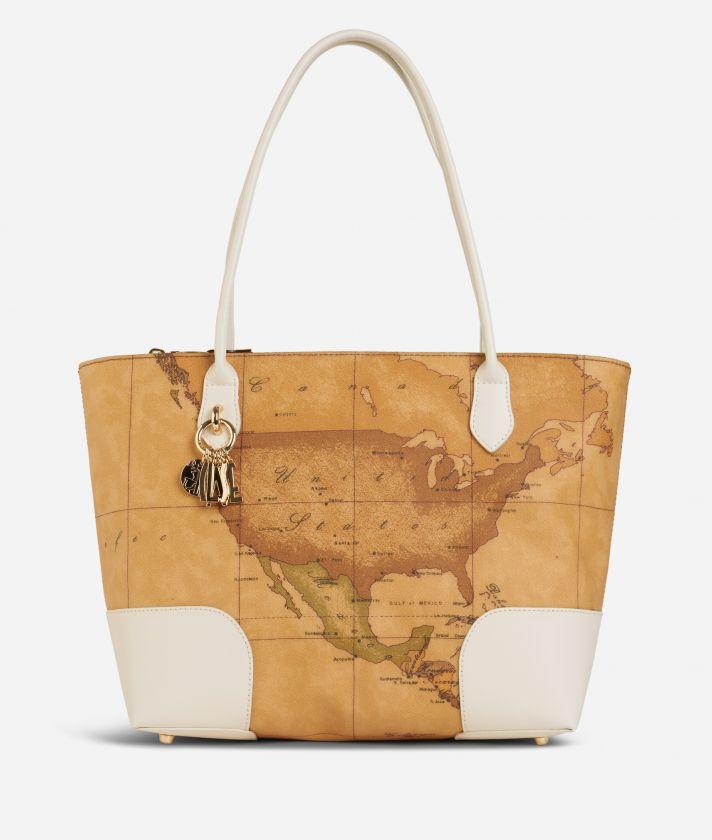 Geo Doré Shopping Bag White
