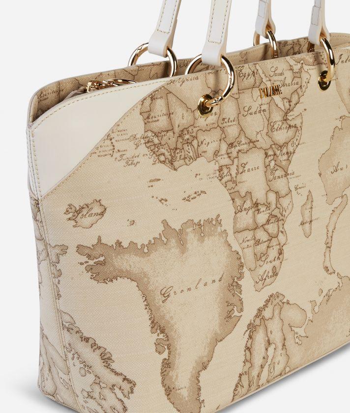 Geo Sahara Big Shopping Bag White