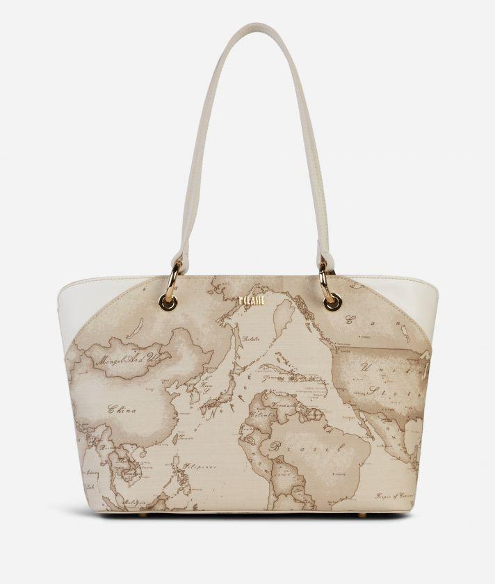 Geo Sahara Small Shopping Bag White