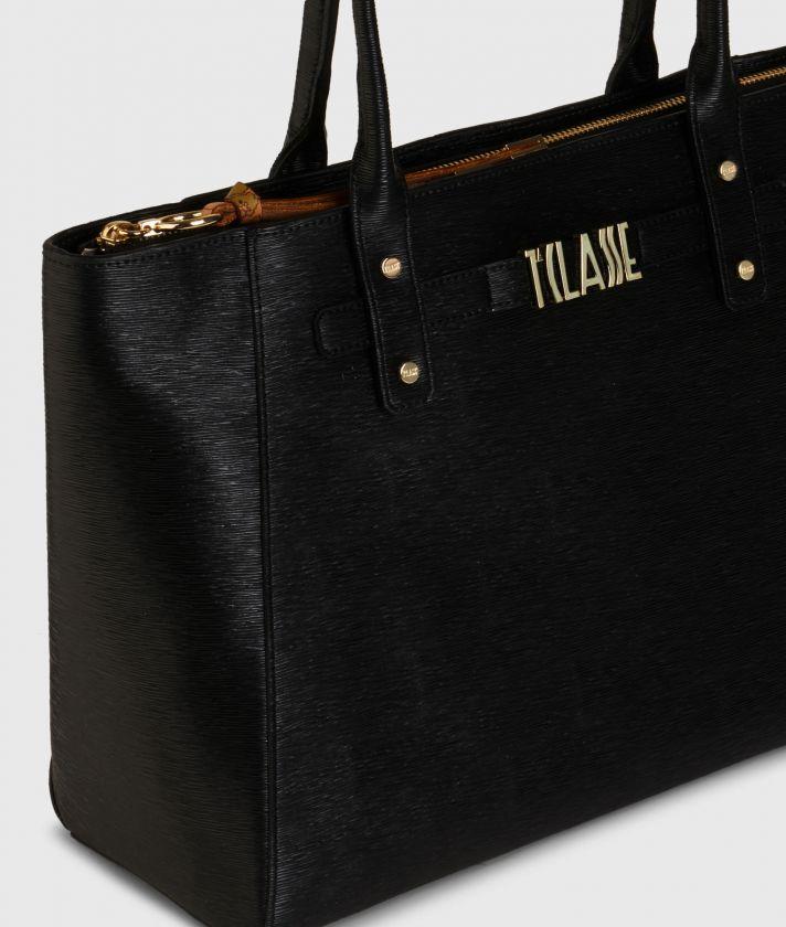 Voyage Smile Shopping Bag Black