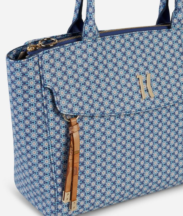 Mosaic Borsa Shopping piccola Blu