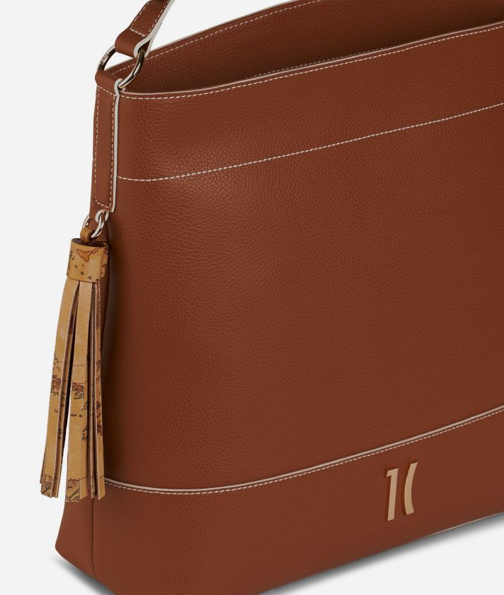 Praline Shoulder Bag in grainy leather Brown