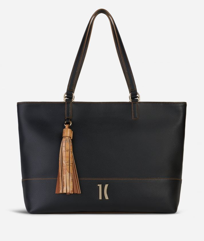 Praline Shopping Bag in grainy leather Black