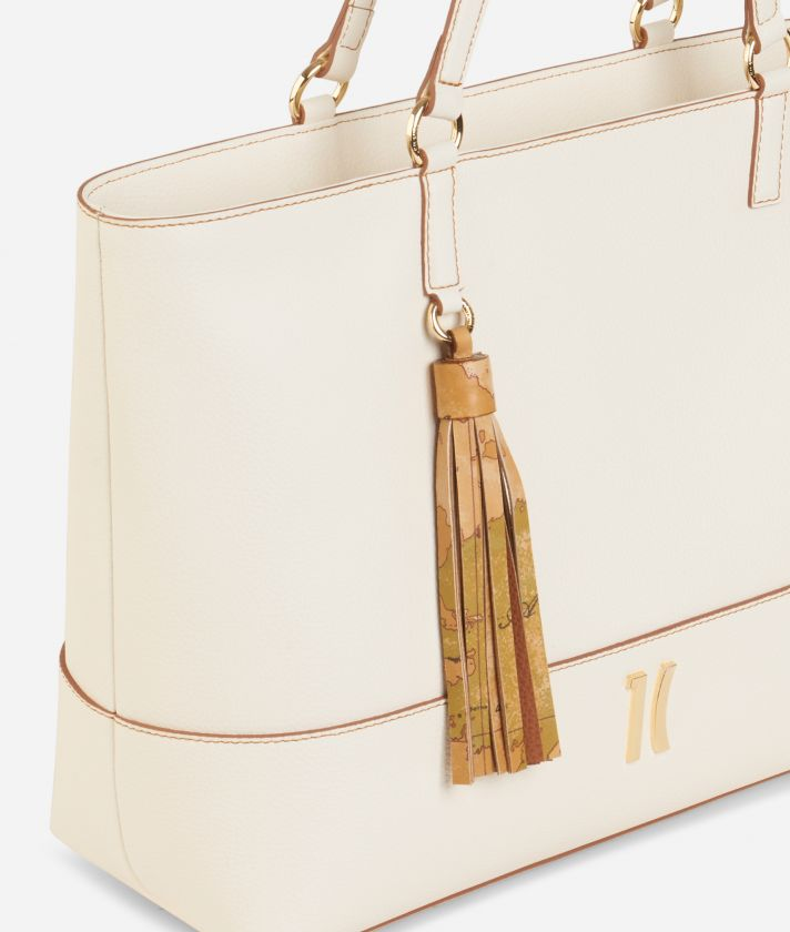 Praline Shopping Bag in grainy leather White