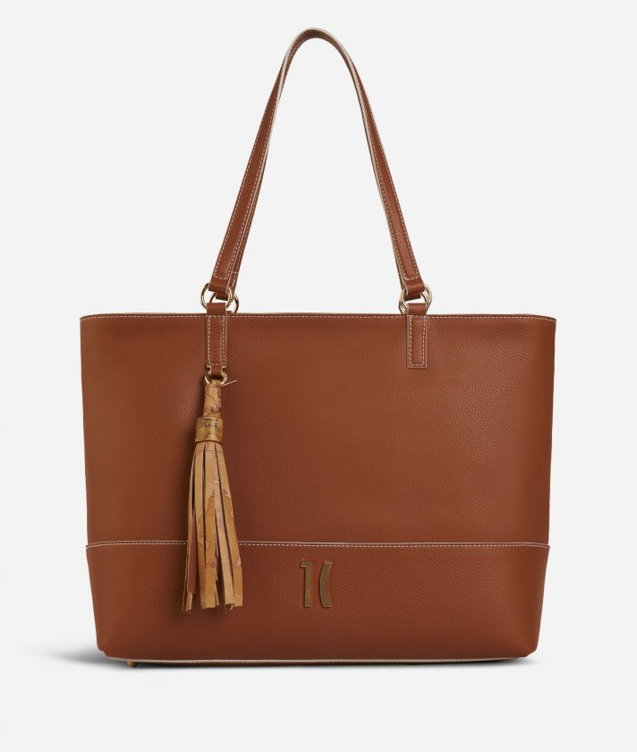 Praline Shopping Bag in grainy leather Brown