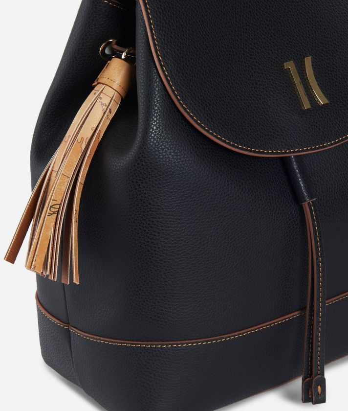 Praline Backpack in grainy leather Black