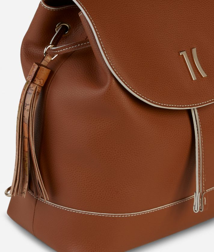 Praline Backpack in grainy leather Brown