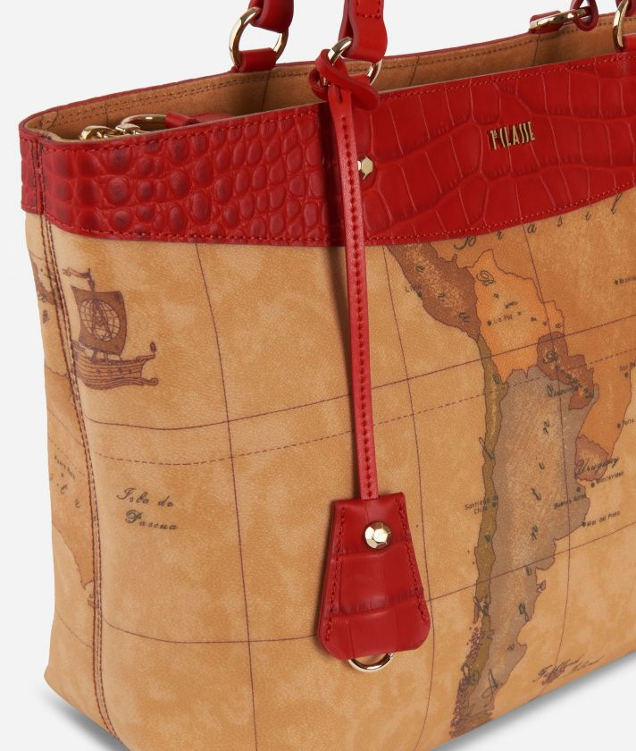 Charme Geo Shopping Bag Red