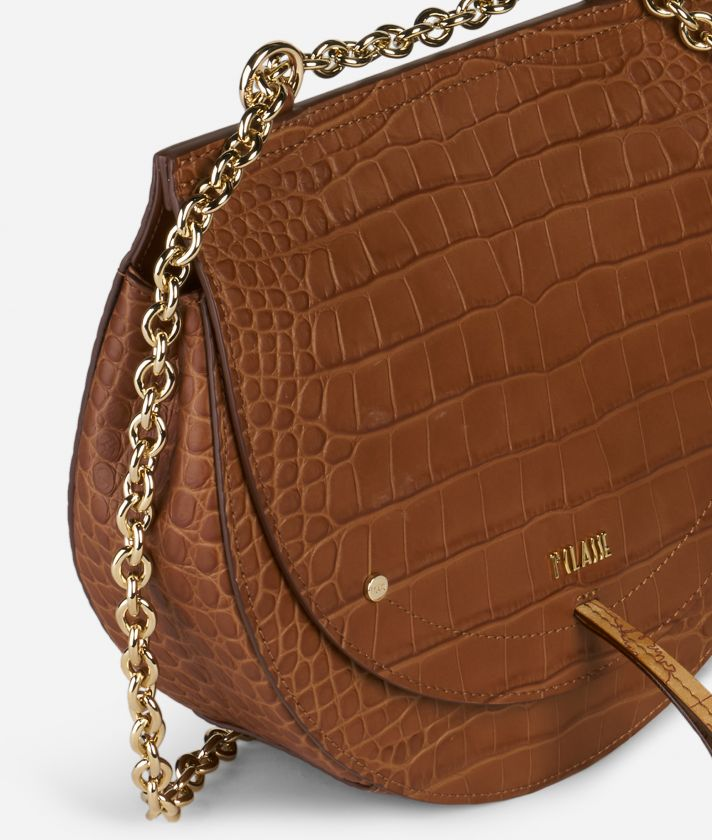 Decoré Crossbody in mock-croc leather Bag Brown