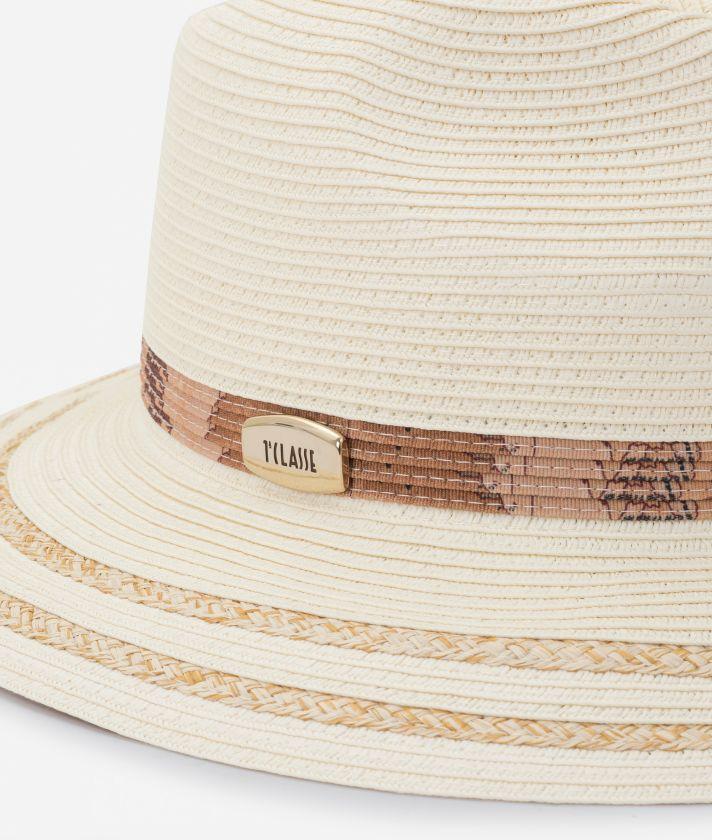 Stitched braided hat White