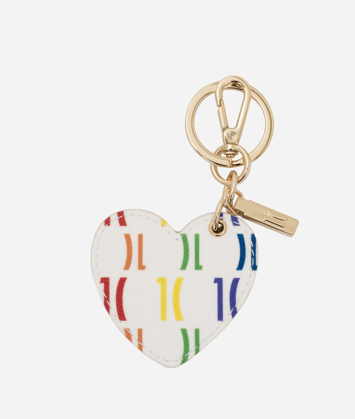 Monogram Rainbow Heart-shaped keyring Multicolor