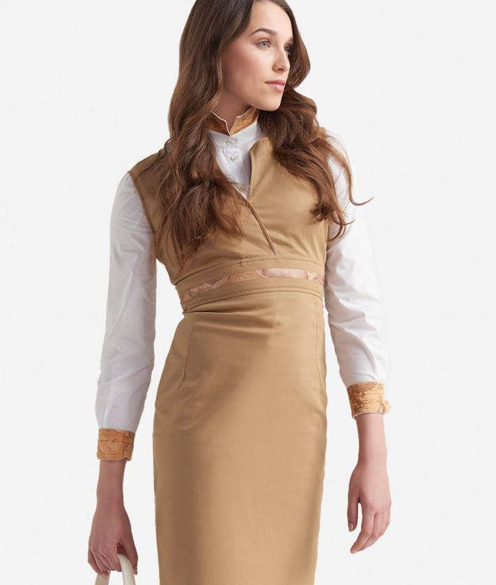 Sheath dress in gabardine cotton Beige