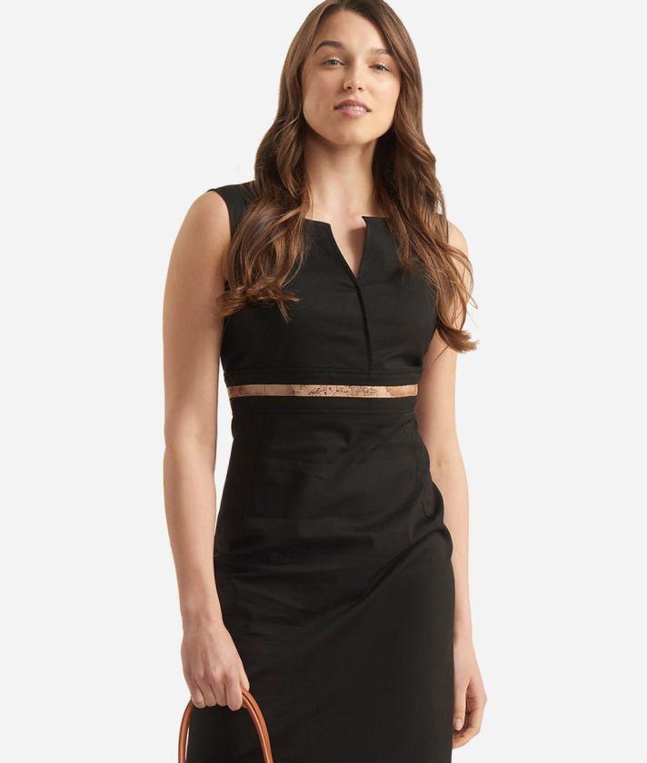 Sheath dress in gabardine cotton Black