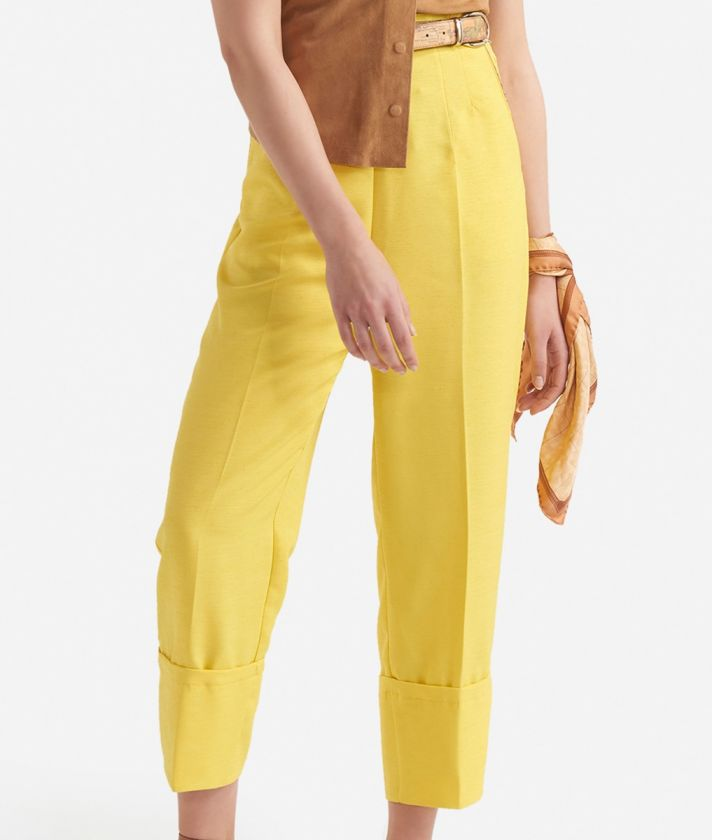Pantalone a vita alta in shantung Giallo