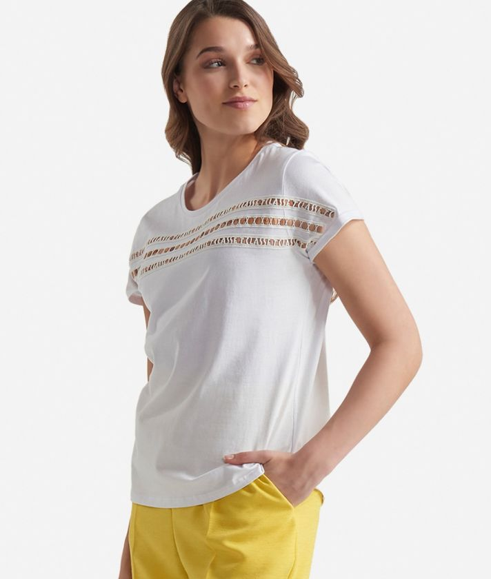 Short sleeves t-shirt in jersey cotton White
