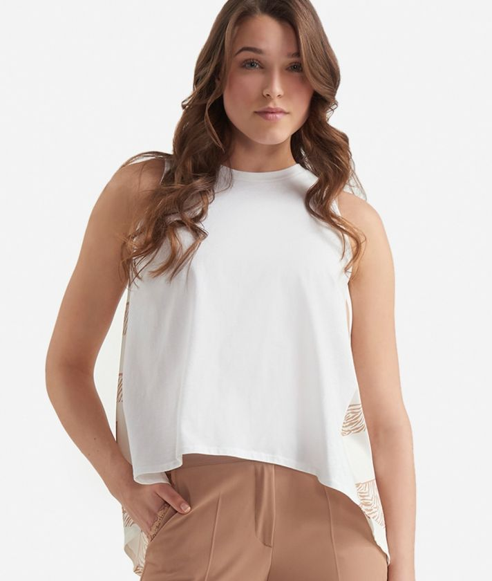 Top in twill with Maxi Lettering print White and Beige