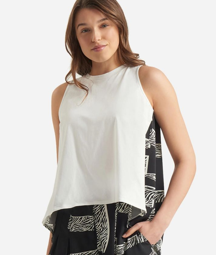 Top in twill with Maxi Lettering print Black and White