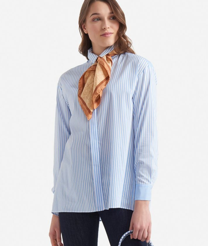 Wide shirt with stripes print White and Light Blue