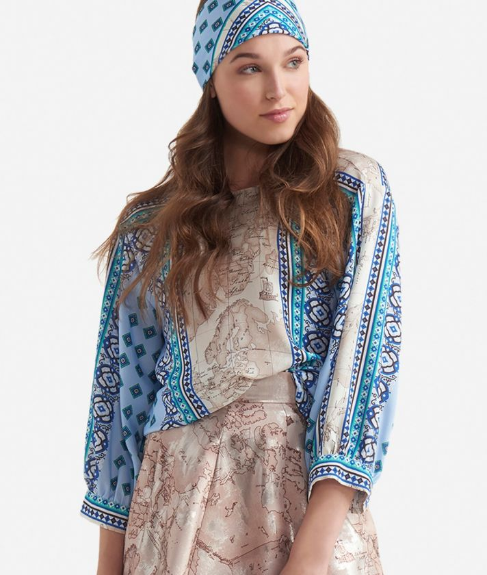 3/4 sleeves blouse in twill with Mosaic print Light Blue