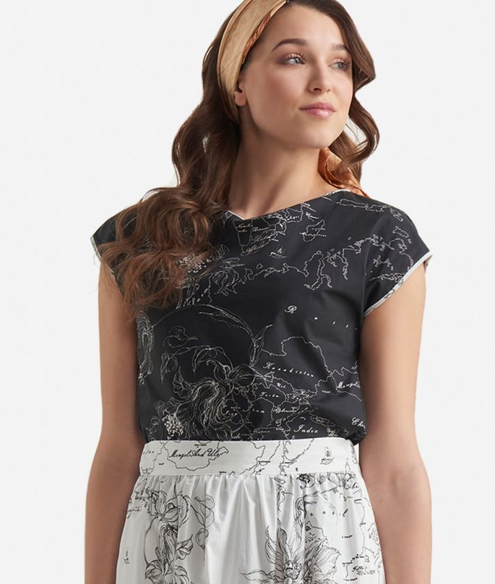 Popeline cotton blouse with floral print Black and White