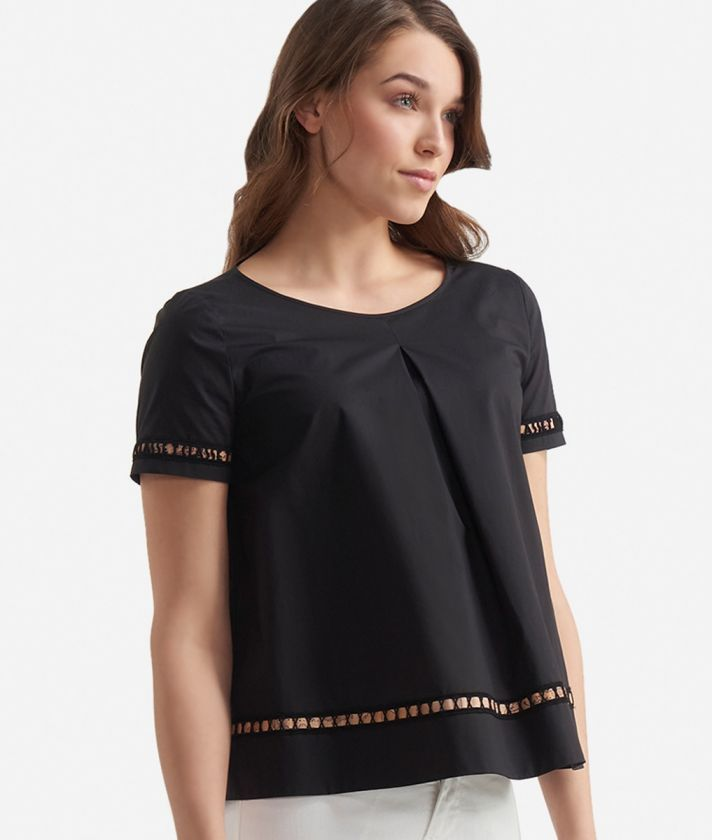 Short sleeves blouse in popeline cotton Black