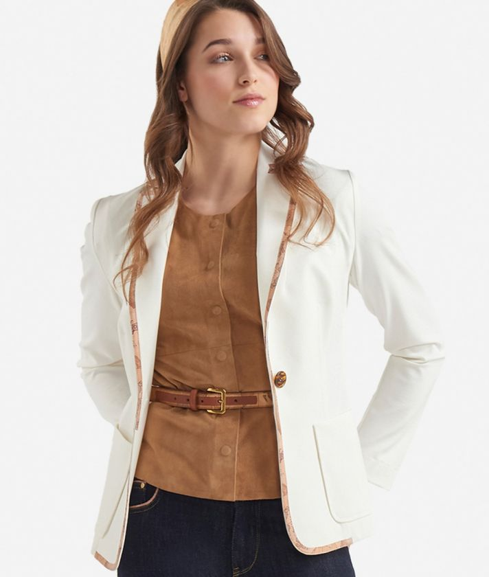 Jersey unlined blazer White