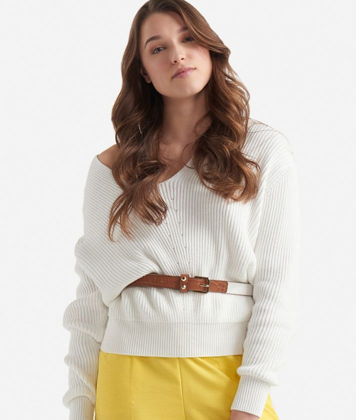 V-neck sweater in cotton White