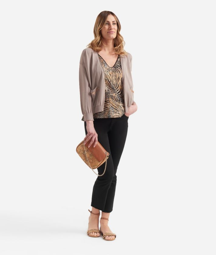 Cardigan with pockets in viscose crepe Beige