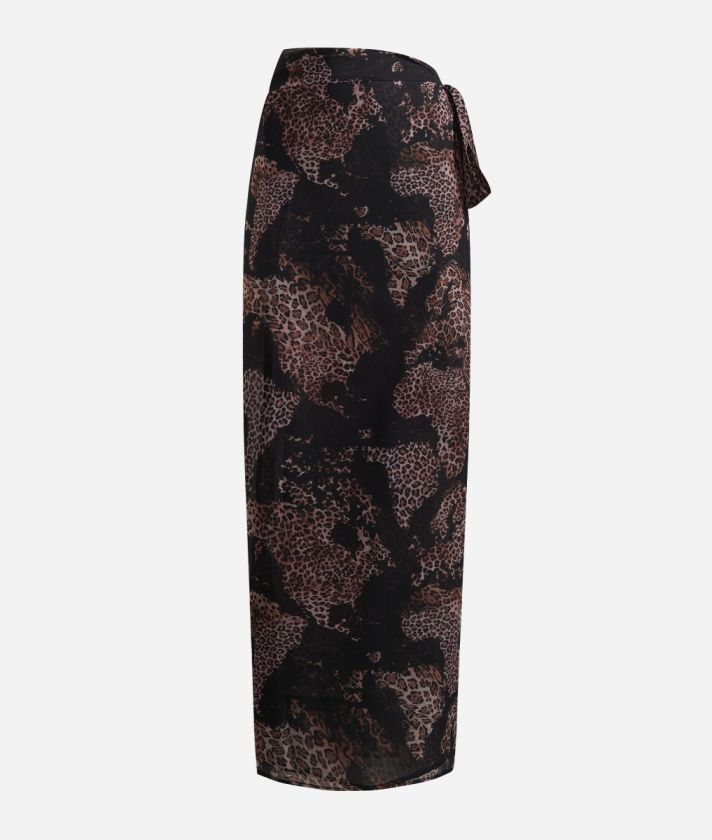 Sarong skirt with Geo Animalier print Black