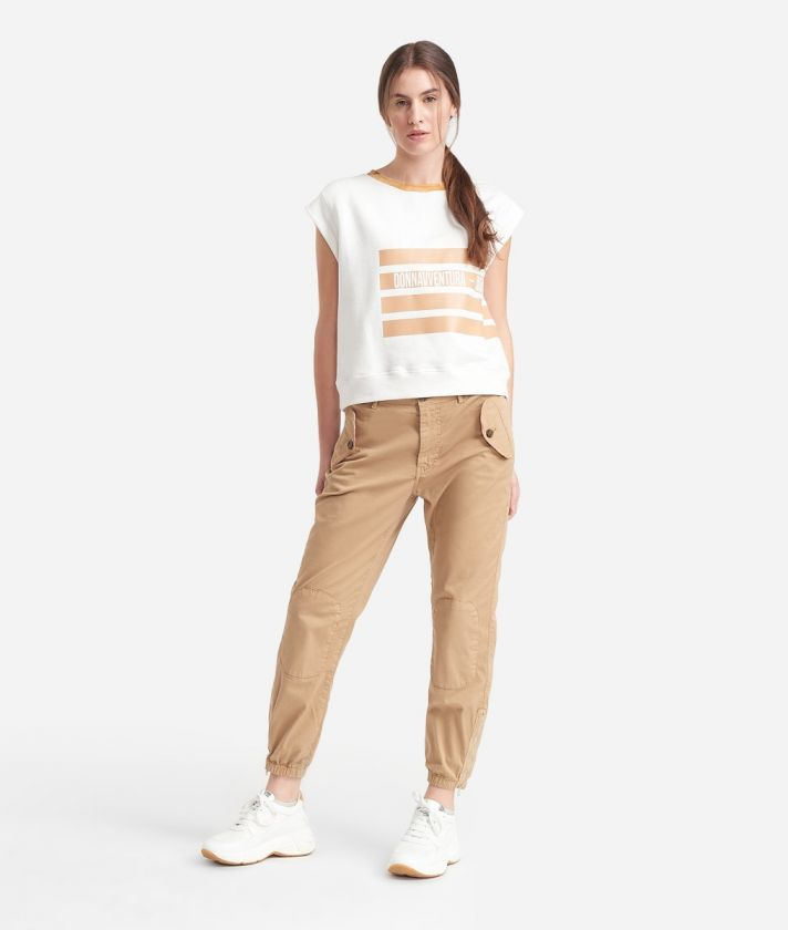 Donnavventura combat pants in stretch cotton Beige