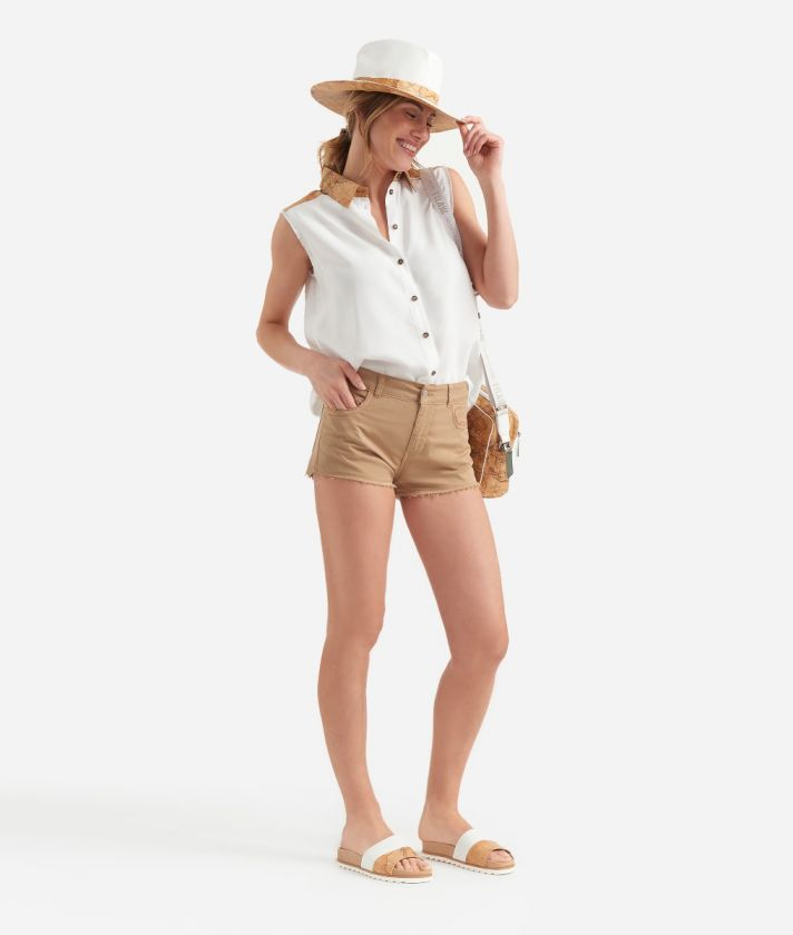 Donnavventura shorts in stretch cotton Beige