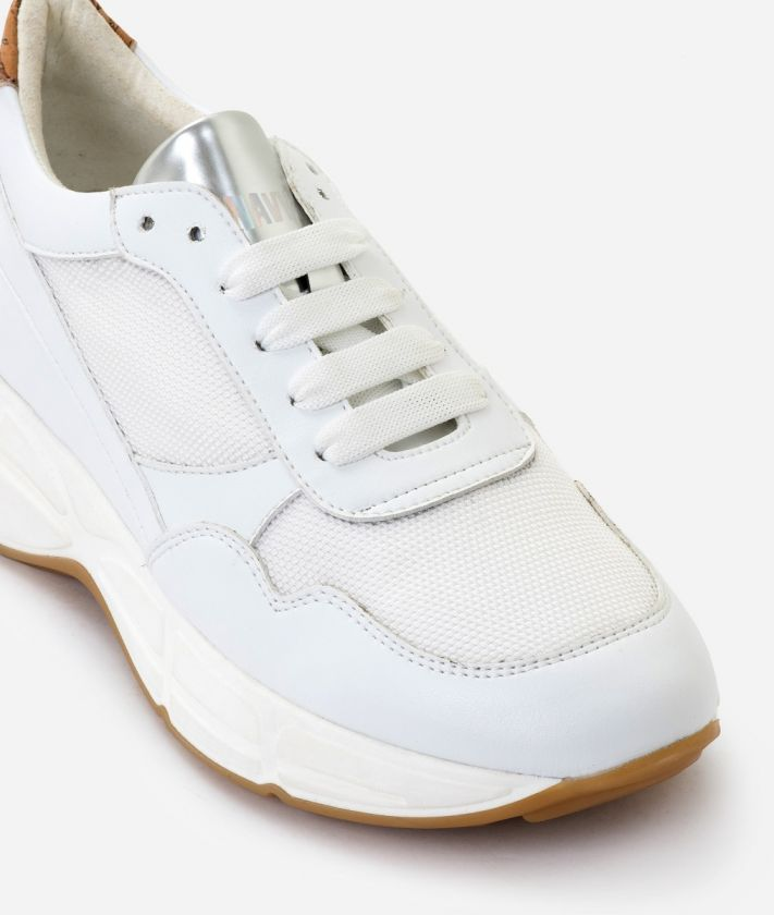 Donnavventura Running Sneakers in eco-leather and Geo Classic print nappa White