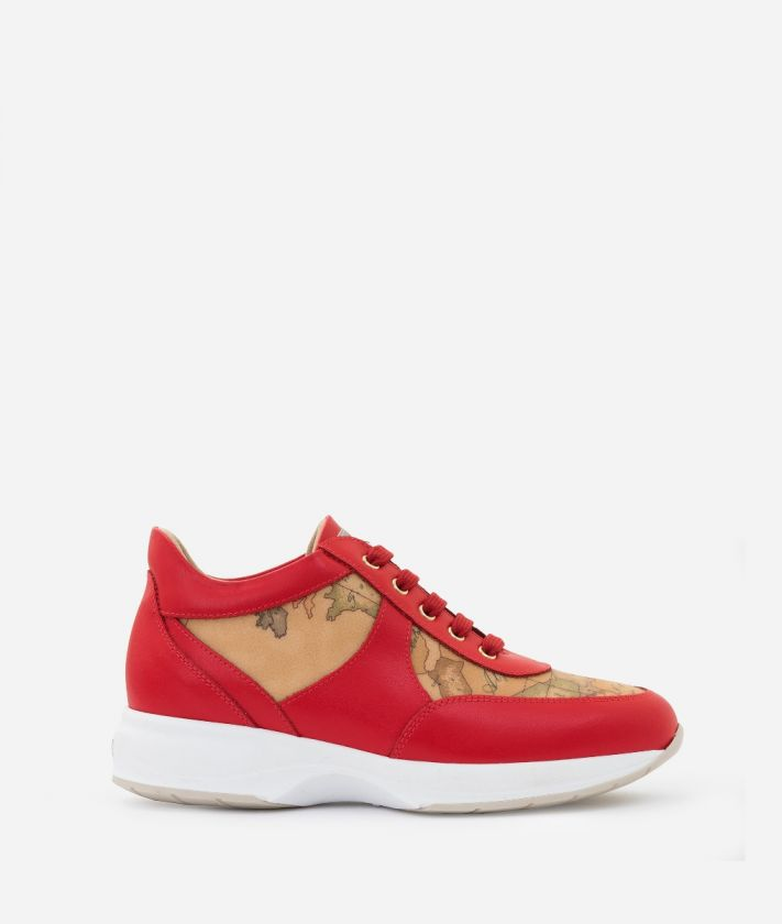 Geo Crossing Sneaker in smooth cowhide leather Red