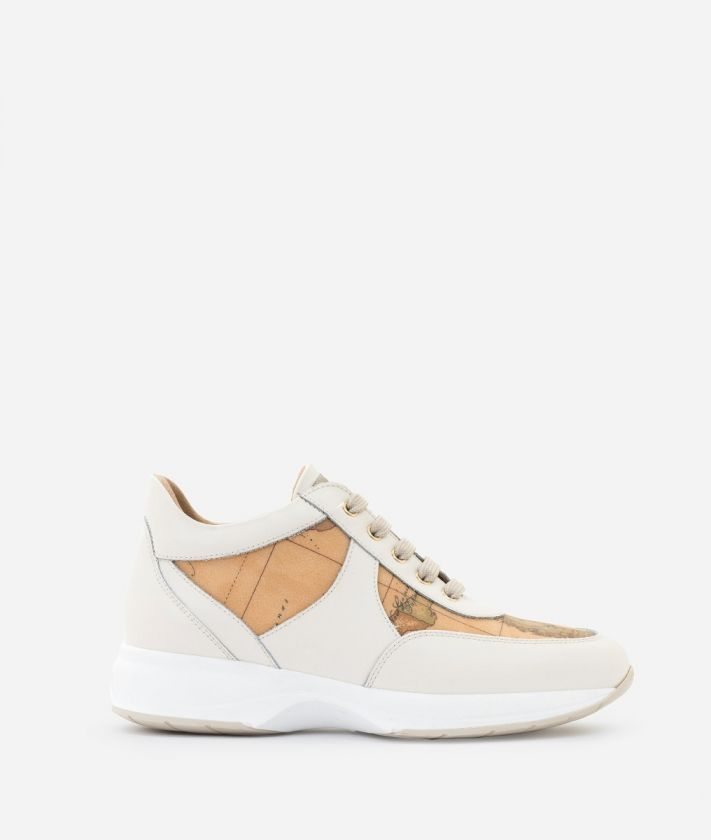 Geo Crossing Sneaker in smooth cowhide leather White
